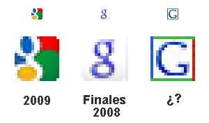 Varios de los Favicon que ha usado Google