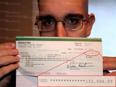 Cheque de Google Adsense  de ShoeMoney