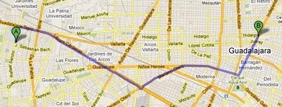 Google ya nos inidica la ruta a seguir entre dos ubicaciones para Guadalajara